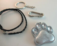 Rhinestone Bling Dog Cat Paw Print Use as Key Chain or Pendant. Incl belt clip