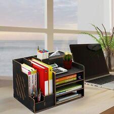 Desk Organizer Storage Wooden Desktop 4tier Organizer With Tissue Boxpen Holder