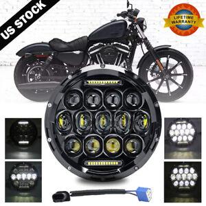 """1x For Honda Shadow VT VT1100 VT750 VT600 VF750 7"""" 75W LED Headlight Projector"""