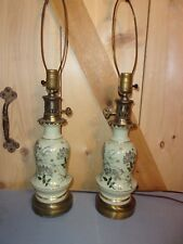 Preowned Vintage  Pair of porcelain  Hand Painted Lamps signed