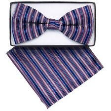 Men's Blue Stripes Pre Tied Bow Tie And Handkerchief Set Bh-2040