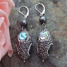 abalone shell trimmed with black macarstie Hematite Earrings