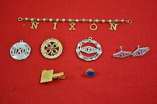 Richard Nixon President Jewelry Lot Tie Tac Bar Pendant Pin Pearl Bracelet #1344
