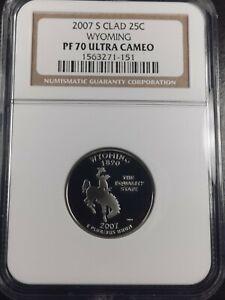 2007 S Clad 25C Wyoming Proof Quarter NGC PF70 UC