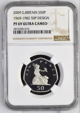2009 Ultra Cameo PF69 NGC Silver Proof 50 Pence Small New Pence 1 of 1 Worldwide