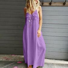 Women Sleeveless V Neck Bohemia Long Maxi Dress Summer Holiday Beach Sundress CA