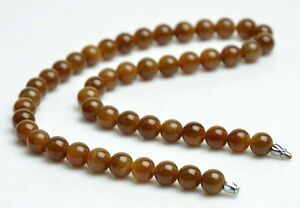 """18"""" Natural Nephrite Brown Honey Jade Beads Necklace Gem Jewelry, w/ Certificate"""