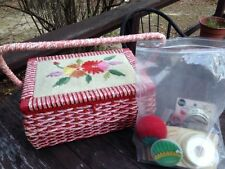 Vintage Wicker Sewing Basket JC Penney Japan Floral Needlepoint Notions 12x 8.5""