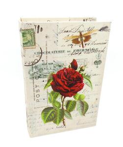 Buchattrappe Geschenkbox Buch Schatulle Safe Kiste Rosen Blumen Shabby H27cm