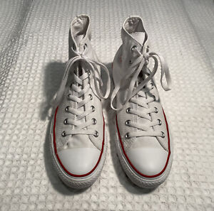 CONVERSE Chuck Taylor All Star Hi High Top White Canvas Sneakers - Men's 11