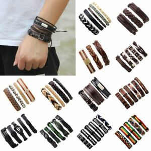 6pcs Mens Punk Leather Wrap Braided Wristband Cuff Punk Bracelet Bangle Charm