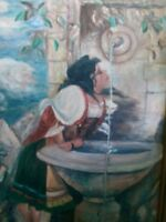 LARGE ANTIQUE VINTAGE OIL PAINTING AFTER LEON BONNAT GIRL AT FOUNTAIN