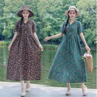 Ethnic Retro Women V-Neck Floral Summer Cotton Linen Loose Tunic Maxi Long Dress