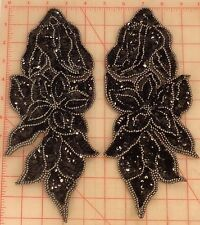 """Matching pair black & gunmetal beaded appliques with double layer flower 11"""""""