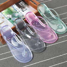 Women's Slippers Non Slip Transparent Crystal Bathroom Beach Jelly Flip Flops