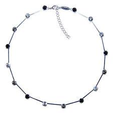 Collier Kette lang 16 Swarovski Kristalle Multicolor Crystal Jet schwarz weiß