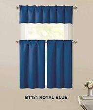 "Home 3pc Kitchen Curtain 2Tier (36""L) +1 Valance (15""L) Semi-Blackout Blue Panel"