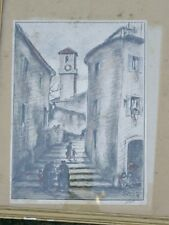 Lithograph engraving raoul delisse Cannes Campanile table paint