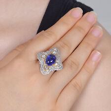18K White Gold Tanzanite Gemstone Engagement Ring Diamond Pave Wedding Jewelry