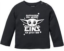 Baby Langarm-Shirt Baby Yoda Parodie 1 / 2 Geburtstag Spruch Geburtstagsshirt