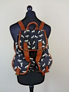Unisex Navy Horse Pattern Cotton Rucksack Backpack School Large Size