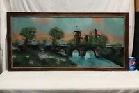 Vtg Antique Reverse Painting on Glass Castle Moat Bridge Water Scene Framed