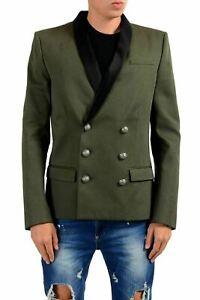 Balmain Men's Dark Green Double Breasted Blazer Sport Coat US 40 IT 50
