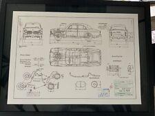 Limitierter ARTprint Volvo Amazon 122S B20 1966 Konstruktionszeichnung