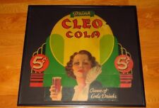 Exceptional Cleo Cola Soda Cardboard Advertisement Sign Original Framed