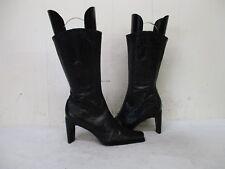 ANTONIO MELANI Black Tooled Leather Zip Mid Calf Fashion Boots Womens Size 6 M