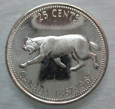1967 CANADA 25 CENTS BRILLIANT UNCIRCULATED SILVER QUARTER COIN