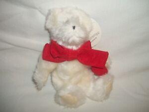 NEW Hallmark Valentine's White Plush Stuffed Eddie Jointed Teddy Bear Red Heart