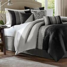 7 Piece Reversible Comforter Set Embroidered Faux Silk Black/Gray King Size