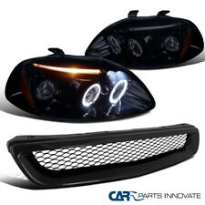 For 96-98 Honda Civic Black Halo LED Projector Headlights+Front Mesh Hood Grille