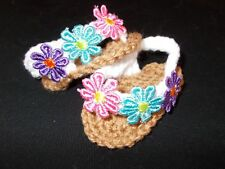 BABY SANDALS FLIP FLOP HAND CROCHET 3-6 MONTHS TAN/ WHITE - ROCKY MOUNTAIN MARTY