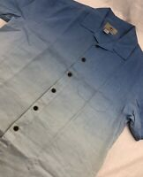 Territory Ahead Short Sleeve Linen Button Up Camp Shirt Blue Mens L Large
