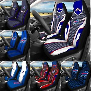 Buffalo Bills Front Car Seat Covers 2PCS Universal Fit Auto Seat Protector Decor