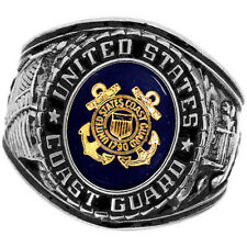 Official US Coast Guard Deluxe Engraved Silver Color Ring -Size 10