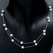 New White Freshwater Pearl 925 Sterling Silver Chain Strand String Necklace 1189