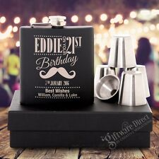 Engraved Birthday Black Hip Flask Gift Set 18th 21st 30th Personalised Present