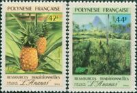 French Polynesia 1991 Sc#555-556,SG605-606 Pineapples self adhesive set MNH