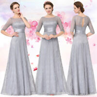 Ever-Pretty Plus Long Lace Bridesmaid Dresses Grey Backless Wedding Gown 08878
