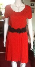 Deep Orange And Black Spot Dress By George Size 12 ( Belt Not Included)