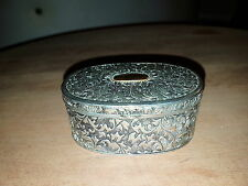 VINTAGE ORNATE SILVER PLATED EMBOSSED TRINKET / JEWELLERY / PILL BOX