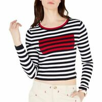 TOMMY HILFIGER Women's Cropped Striped Ribbed Cotton Crewneck Sweater Top TEDO
