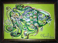 Fisch Malerei Margarita Bonke zeichnung Fish Pop art Karpfen A4 Original Kunst