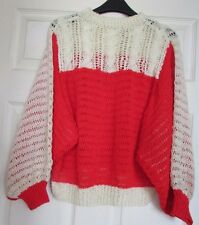 VINTAGE BAT-WING SLEEVE SWEATER, HAND- CRAFTED, WHITE & RED, SIZE MEDIUM. NEW