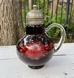 Vintage Ruby Red Bohemian Lidded Etched Glass Syrup Pitcher Syrup Jug