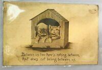 Vintage Antique Dog Cat Kitten Puppy Postcard Posted Friend Friendship Nothing B