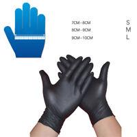 10/50/100X noir gants en nitrile fort en poudre Gant de mécanicien sans latex xt